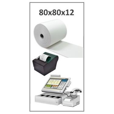 Bobine papier thermique 80x80x12 pour ticket de caisse - Longueur ~80 mètres - Sans BPA