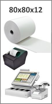 Bobines papier thermique 80x80x12 pour ticket de caisse - Longueur ~80 mètres